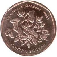 reverse of 5 Escudos - Flora of Cabo Verde Islands: Contra Bruxas (1994) coin with KM# 31 from Cape Verde. Inscription: Campanula jacobaea Webb CONTRA BRUXAS