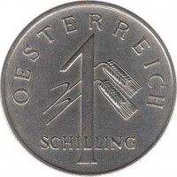 obverse of 1 Schilling (1934 - 1935) coin with KM# 2851 from Austria. Inscription: OESTERREICH 1 SCHILLING