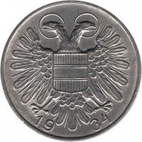 reverse of 1 Schilling (1934 - 1935) coin with KM# 2851 from Austria. Inscription: 19 34