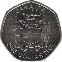 obverse of 1 Dollar - Elizabeth II - Heptagonal (1994 - 2008) coin with KM# 164 from Jamaica. Inscription: JAMAICA ONE DOLLAR 1996 OUT OF MANY, ONE PEOPLE