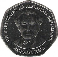 reverse of 1 Dollar - Elizabeth II - Heptagonal (1994 - 2008) coin with KM# 164 from Jamaica. Inscription: THE RT. EXCELLENT SIR ALEXANDER BUSTAMANTE NATIONAL HERO