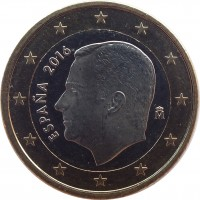 obverse of 1 Euro - Felipe VI (2015 - 2017) coin with KM# 1327 from Spain. Inscription: ESPAÑA 2016 M