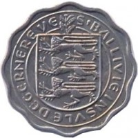 obverse of 3 Pence - Elizabeth II - Thiner (1956) coin with KM# 17 from Guernsey. Inscription: S'BALLIVIE INSULE DEGERNEREVS