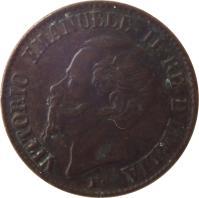 obverse of 1 Centesimo - Vittorio Emanuele II (1861 - 1867) coin with KM# 1 from Italy. Inscription: VITTORIO EMANUELE II RE D'ITALIA F.