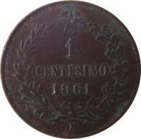 reverse of 1 Centesimo - Vittorio Emanuele II (1861 - 1867) coin with KM# 1 from Italy. Inscription: 1 CENTESIMO 1867 M