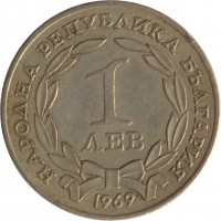 obverse of 1 Lev - 90th Anniversary Liberation From Turks (1969) coin with KM# 76 from Bulgaria. Inscription: НАРОДНА РЕПУБЛИКА БЪЛГАРИЯ 1 ЛЕВ 1969