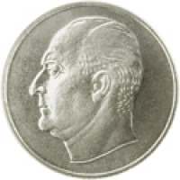obverse of 50 Øre - Olav V (1958 - 1973) coin with KM# 408 from Norway.
