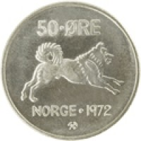 reverse of 50 Øre - Olav V (1958 - 1973) coin with KM# 408 from Norway. Inscription: 50 · ØRE NORGE · 1972