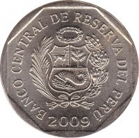 obverse of 1 Nuevo Sol - 1'st Type (1991 - 2011) coin with KM# 308 from Peru. Inscription: BANCO CENTRAL DE RESERVA DEL PERÚ 2002