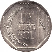 reverse of 1 Nuevo Sol - 1'st Type (1991 - 2011) coin with KM# 308 from Peru. Inscription: UN NUEVO SOL