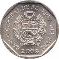 obverse of 50 Céntimos (1991 - 2015) coin with KM# 307 from Peru. Inscription: BANCO CENTRAL DE RESERVA DEL PERÚ 1998