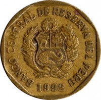 obverse of 10 Céntimos (1991 - 2015) coin with KM# 305 from Peru. Inscription: BANCO CENTRAL DE RESERVA DEL PERU 2003