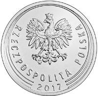 obverse of 10 Groszy (2017) coin with Y# 971 from Poland. Inscription: RZECZPOSPOLITA POLSKA 2017