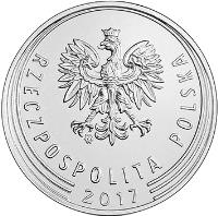 obverse of 20 Groszy (2017) coin with Y# 972 from Poland. Inscription: RZECZPOSPOLITA POLSKA 2017