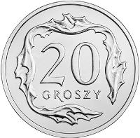 reverse of 20 Groszy (2017) coin with Y# 972 from Poland. Inscription: 20 GROSZY