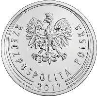 obverse of 50 Groszy (2017) coin with Y# 973 from Poland. Inscription: RZECZPOSPOLITA POLSKA 2017