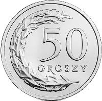 reverse of 50 Groszy (2017) coin with Y# 973 from Poland. Inscription: 50 GROSZY