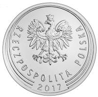 obverse of 1 Złoty (2017) coin with Y# 974 from Poland. Inscription: RZECZPOSPOLITA POLSKA 2017