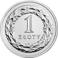 reverse of 1 Złoty (2017) coin with Y# 974 from Poland. Inscription: 1 ZŁOTY