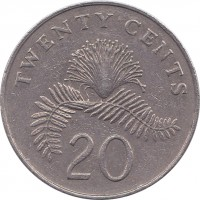 reverse of 20 Cents - Ribbon upwards (1985 - 1991) coin with KM# 52 from Singapore. Inscription: TWENTY CENTS 20