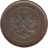 obverse of 10 Penniä - Nicholas II - Civil War Coinage (1917) coin with KM# 18 from Finland.