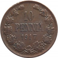 reverse of 10 Penniä - Nicholas II - Civil War Coinage (1917) coin with KM# 18 from Finland. Inscription: 10 PENNIÄ 1917