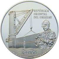 obverse of 1000 Pesos Uruguayos - 100th Anniversary of the National Ports Administration (2016) coin with KM# 144 from Uruguay. Inscription: REPÚBLICA ORIENTAL DEL URUGUAY $ 1.000