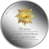 obverse of 2000 Pesos Uruguayos - 50th Anniversary of Banco Central del Uruguay (2017) coin with KM# 146 from Uruguay. Inscription: REPÚBLICA ORIENTAL DEL URUGUAY 50 AÑOS BANCO CENTRAL DEL URUGUAY $ 2.000