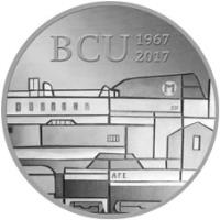 reverse of 2000 Pesos Uruguayos - 50th Anniversary of Banco Central del Uruguay (2017) coin with KM# 146 from Uruguay. Inscription: BCU 1967 2017 M 501 AFE