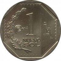 reverse of 1 Nuevo Sol - 2'nd Type (2012 - 2015) coin with KM# 366 from Peru. Inscription: 1 NUEVO SOL