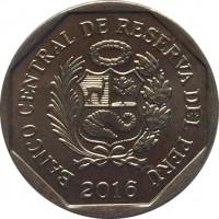 obverse of 1 Nuevo Sol - Wealth and Pride of Peru: Paracas textile (2013) coin with KM# 368 from Peru. Inscription: BANCO CENTRAL DE RESERVA DEL PERÚ 2013