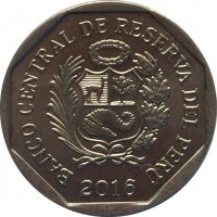 obverse of 1 Nuevo Sol - Wealth and Pride of Peru: Chullpas of Sillustani (2011) coin with KM# 345 from Peru. Inscription: BANCO CENTRAL DE RESERVA DEL PERÚ 2011