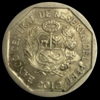 obverse of 1 Nuevo Sol - Wealth and Pride of Peru: Piedra de Saywite (2012) coin with KM# 362 from Peru. Inscription: BANCO CENTRAL DE RESERVA DEL PERÚ 2012