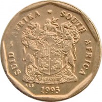 obverse of 50 Cents - SUID-AFRIKA - SOUTH AFRICA (1990 - 1995) coin with KM# 137 from South Africa. Inscription: SUID-AFRIKA · SOUTH AFRICA EX UNITATE VIRES 1994 ALS