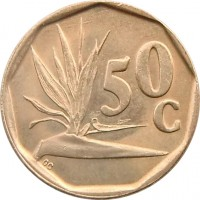 reverse of 50 Cents - SUID-AFRIKA - SOUTH AFRICA (1990 - 1995) coin with KM# 137 from South Africa. Inscription: 50c GC