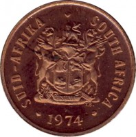 obverse of 1 Cent - SUID-AFRIKA - SOUTH AFRICA (1970 - 1989) coin with KM# 82 from South Africa. Inscription: SUID-AFRIKA · SOUTH AFRICA EX UNITATE VIRES 1981 T.S.