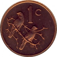 reverse of 1 Cent - SUID-AFRIKA - SOUTH AFRICA (1970 - 1989) coin with KM# 82 from South Africa. Inscription: 1c T.S.
