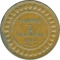 reverse of 5 Centimes - Muhammad IV al-Hadi (1903 - 1904) coin with KM# 228 from Tunisia. Inscription: TUNISIE 5 CENTIMES 1903 A