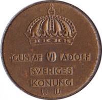 obverse of 5 Öre - Gustaf VI Adolf (1952 - 1971) coin with KM# 822 from Sweden. Inscription: GUSTAF VI ADOLF SVERIGES KONUNG TS