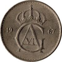 obverse of 50 Öre - Gustaf VI Adolf (1962 - 1973) coin with KM# 837 from Sweden. Inscription: 19 73