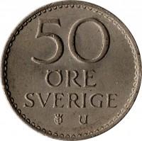 reverse of 50 Öre - Gustaf VI Adolf (1962 - 1973) coin with KM# 837 from Sweden. Inscription: 50 ØRE SVERIGE U