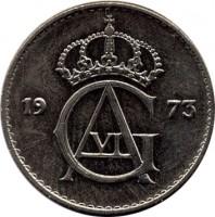 obverse of 10 Öre - Gustaf VI Adolf (1962 - 1973) coin with KM# 835 from Sweden. Inscription: GA VI 1963