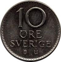 reverse of 10 Öre - Gustaf VI Adolf (1962 - 1973) coin with KM# 835 from Sweden. Inscription: 10 ØRE SVERIGE u