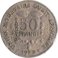 reverse of 50 Francs (1972 - 2011) coin with KM# 6 from Western Africa (BCEAO). Inscription: UNION MONETAIRE OUEST-AFRICAINE 50 FRANCS 1989