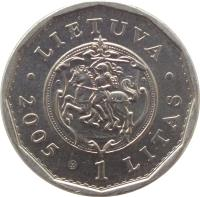 obverse of 1 Litas - Re-building palace of the Rulers of the Grand Duchy of Lithuania (2005) coin with KM# 142 from Lithuania. Inscription: LIETUVA 1 LITAS 2005