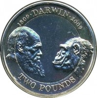reverse of 2 Pounds - Elizabeth II - 200th Anniversary of the Birth of Charles Darwin - 4'th Portrait (2009) coin with KM# 1115 from United Kingdom. Inscription: 1809 · DARWIN · 2009 TWO POUNDS