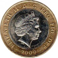 obverse of 2 Pounds - Elizabeth II - 250th Anniversary of the Birth of Robert Burns - 4'th Portrait (2009) coin with KM# 1116 from United Kingdom. Inscription: ELIZABETH · II · D · G · REG · FID · DEF · 2009 · IRB