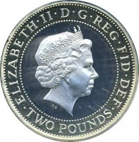 obverse of 2 Pounds - Elizabeth II - 400th Anniversary of the King James Bible - 4'th Portrait (2011) coin with KM# 1200 from United Kingdom. Inscription: ELIZABETH · II · D · G · REG · FID · DEF · TWO POUNDS · IRB
