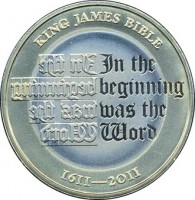 reverse of 2 Pounds - Elizabeth II - 400th Anniversary of the King James Bible - 4'th Portrait (2011) coin with KM# 1200 from United Kingdom. Inscription: KING JAMES BIBLE In the beginning was the Word 1611-2011