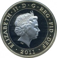 obverse of 2 Pounds - Elizabeth II - 500th Anniversary of the Launch of the Mary Rose - 4'th Portrait (2011) coin with KM# 1199 from United Kingdom. Inscription: ELIZABETH · II · D · G · REG · FID · DEF · 2011 · IRB